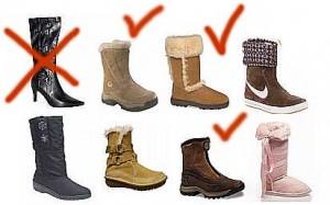 выбор и покупке зимней женской обуви