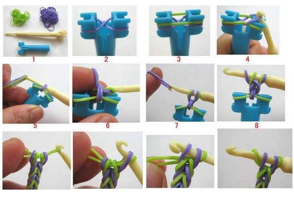 Схема браслет из резинок