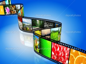 Film strip with colorful images
