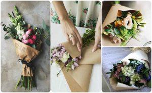 Как упаковать цветы в крафт бумагу?